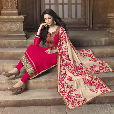 Pink Zari Embroidered Georgette Suit