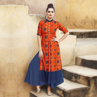 Orange Printed Kurti with Hand Work Placket