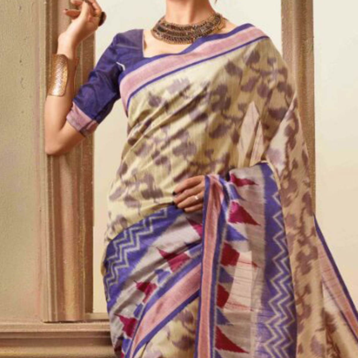 Beige - Purple Casual Wear Saree