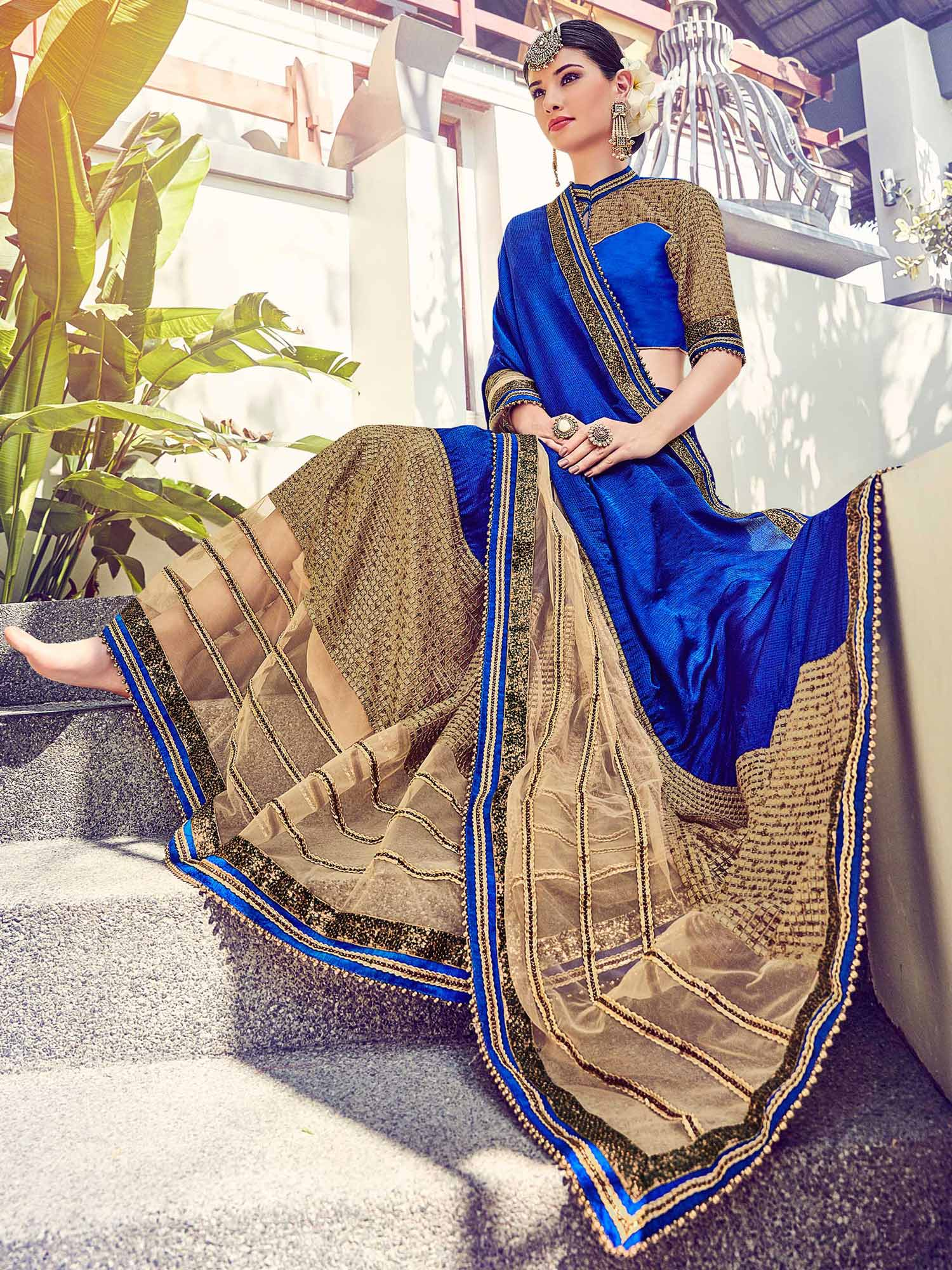 Ink Blue - Beige Designer Saree