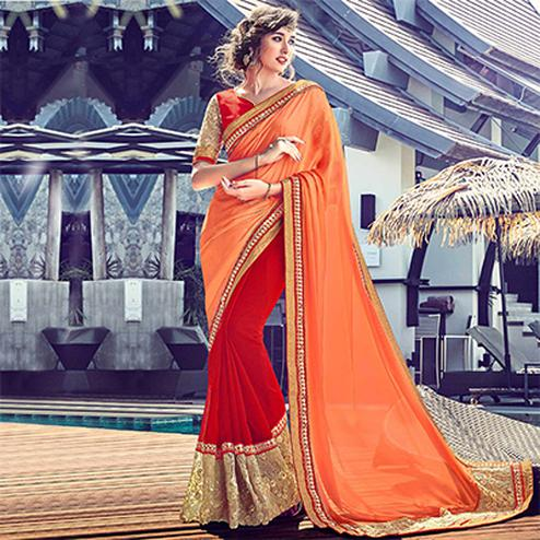 Orange - Red Half & Half Saree