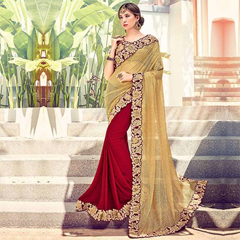 Beige - Maroon Border Work Half Saree