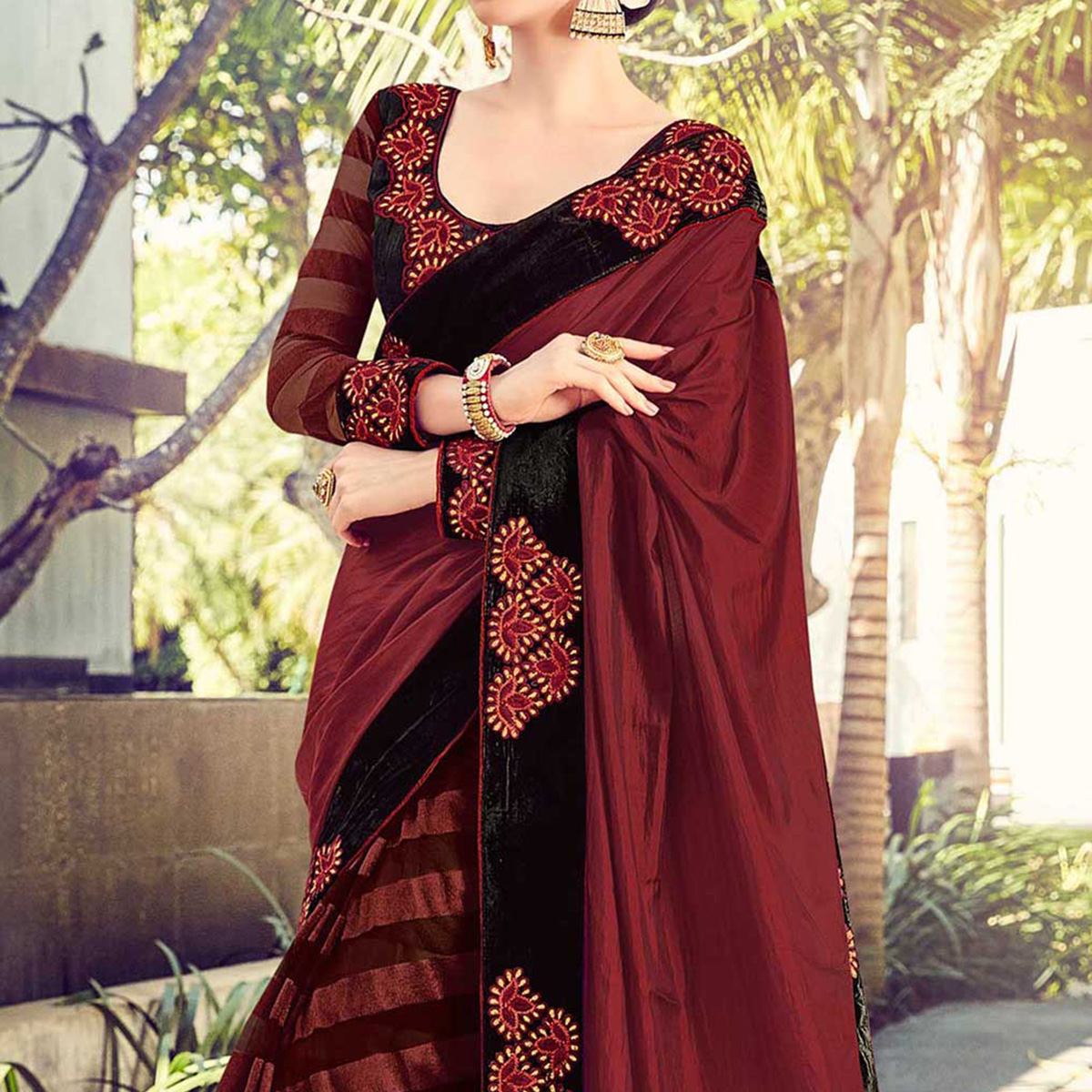 Maroon Cotton & Net Party Wear Saree