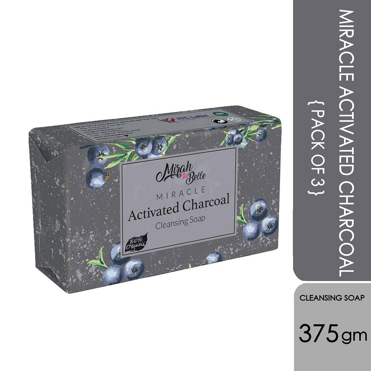 Mirah Belle Miracle Charcoal Cleansing Soap - Pack Of 3 - 375Gm