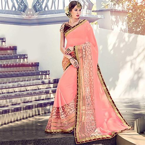 Peach Floral Embroidered Work Saree