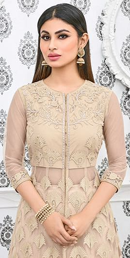 Beige Embroidered Work Net Anarkali