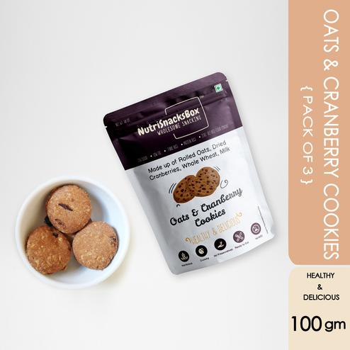 Nutri Snacks Box Oats Cranberry Cookies ( pack of 3) 100g each
