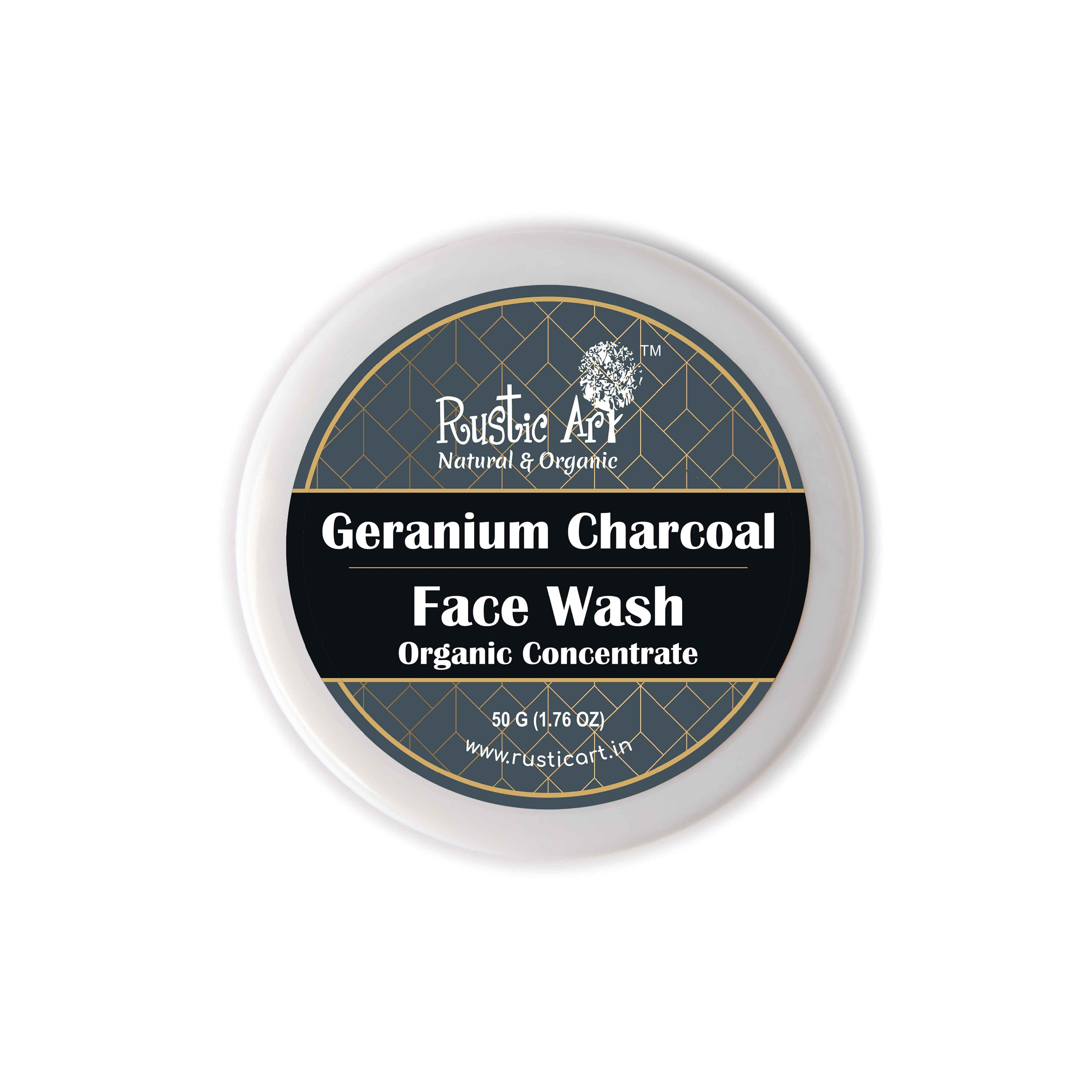 Rustic Art Organic Geranium Charcoal Face Wash Concentrate - 50g