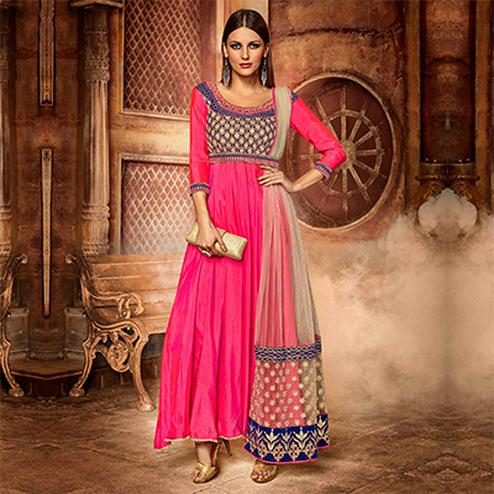 Pink - Deep Blue Gown Style Designer Suit