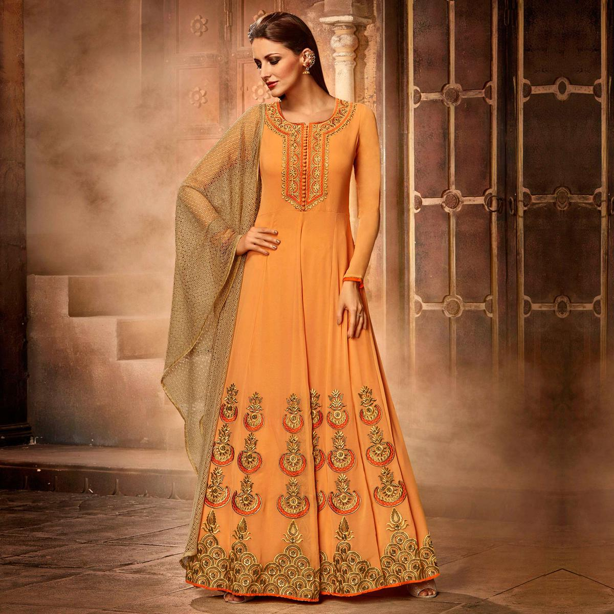 Mustard Color Faux Georgette Anarkali Suit