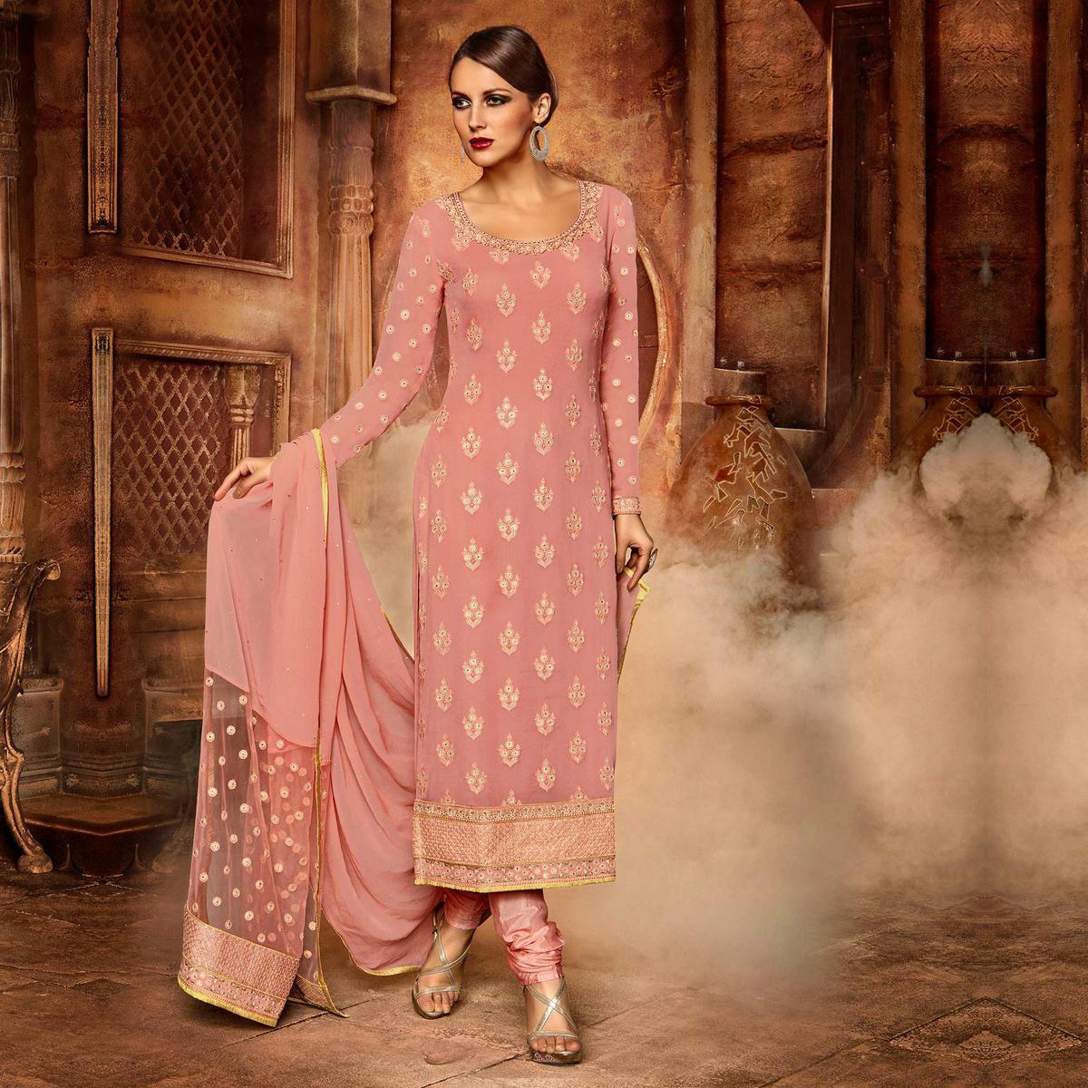 Pink Straight Cut Designer Suit