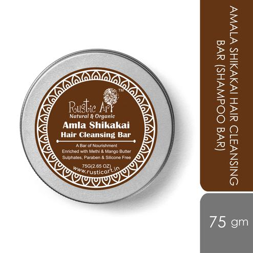 Rustic Art Amala Shikakai Hair Cleansing Bar (Shampoo Bar) - 75g