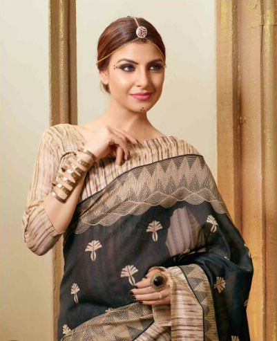 Black - Beige Bhagalpuri Silk Saree