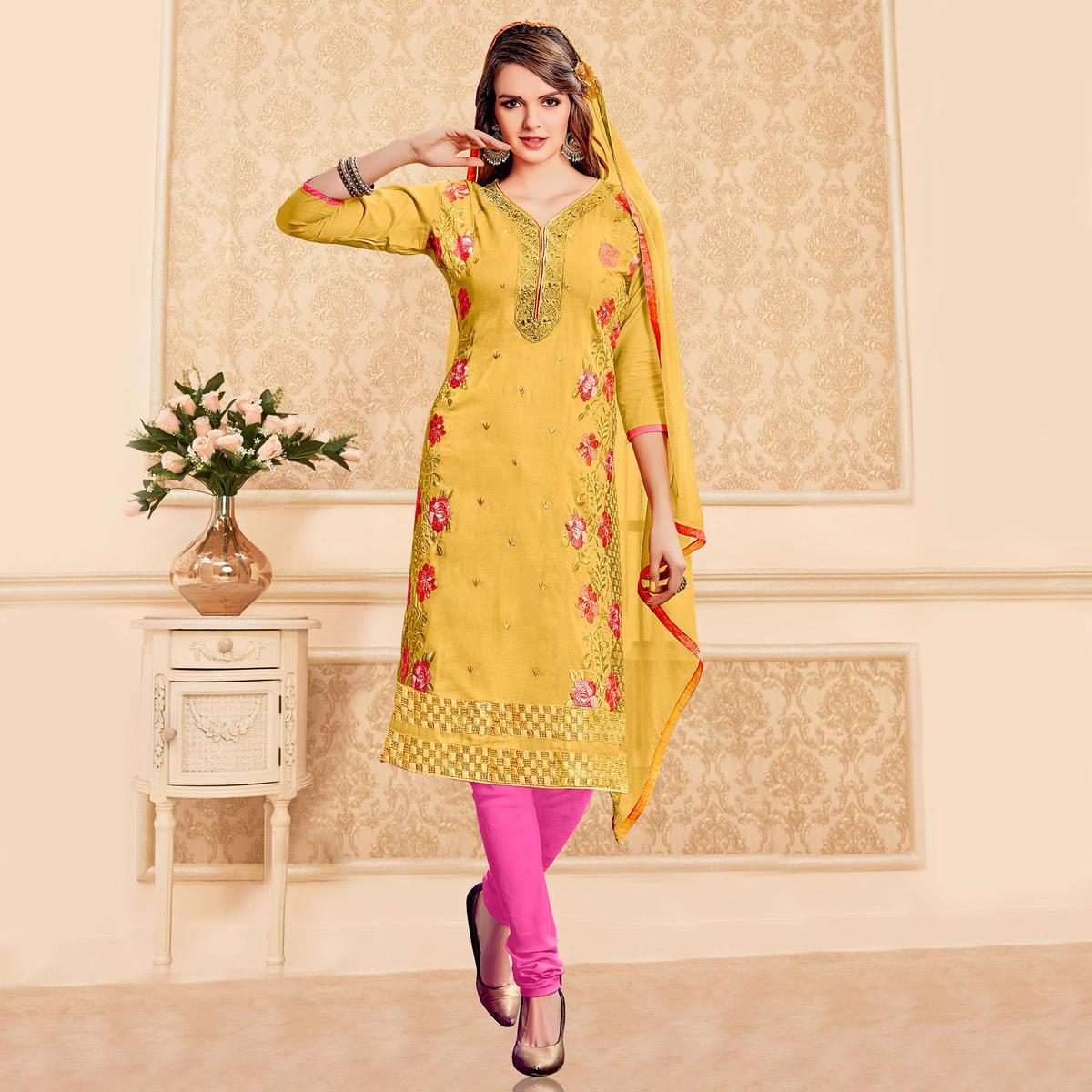 Yellow Embroidered Work Cotton Suit