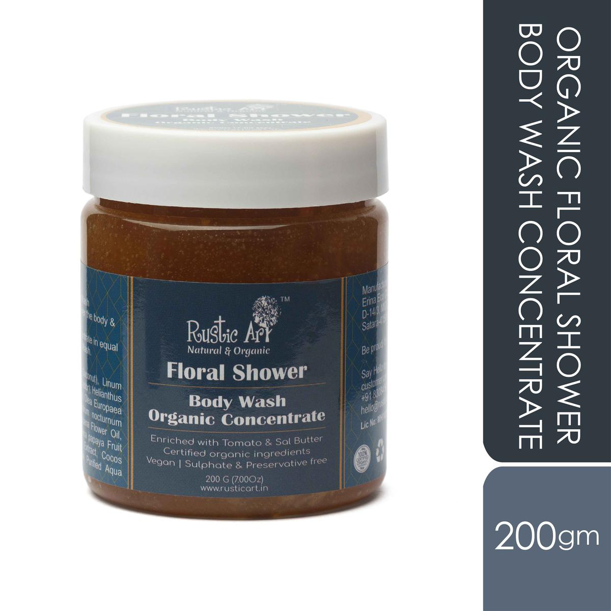 Rustic Art Organic Floral Shower Body Wash Concentrate - 200g