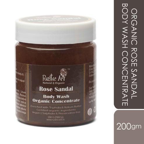 Rustic Art Organic Rose Sandal Body Wash Concentrate - 200g