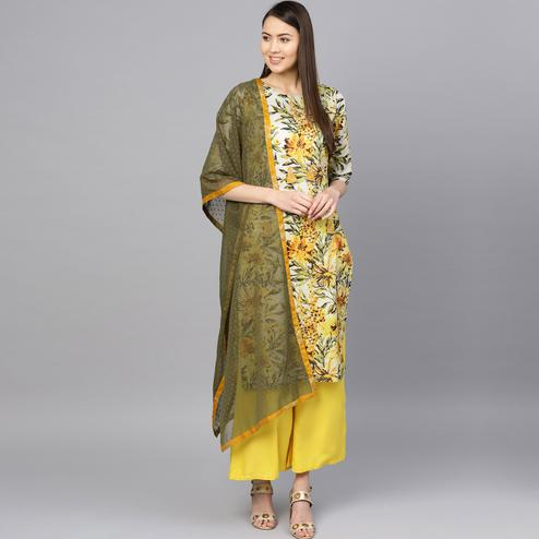 Adorable Yellow-White Colored Party Wear Cotton Kurti-Palazzo Set With Dupatta