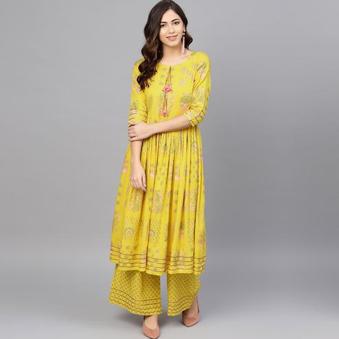 Glorious Yellow Colored Party Wear Printed Viscose-Rayon Kurti-Palazzo Set