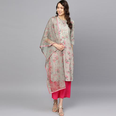 Graceful Grey Colored Party Wear Floral Digital Printed Cotton Kurti With Dupatta