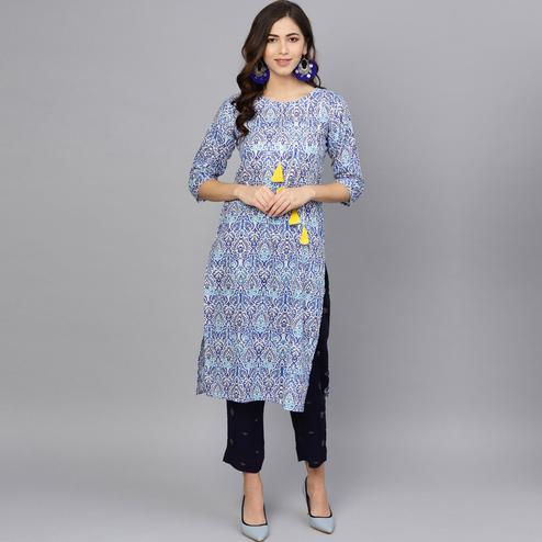 Blooming Blue Colored Party Wear Printed Cotton Kurti-Pant Set