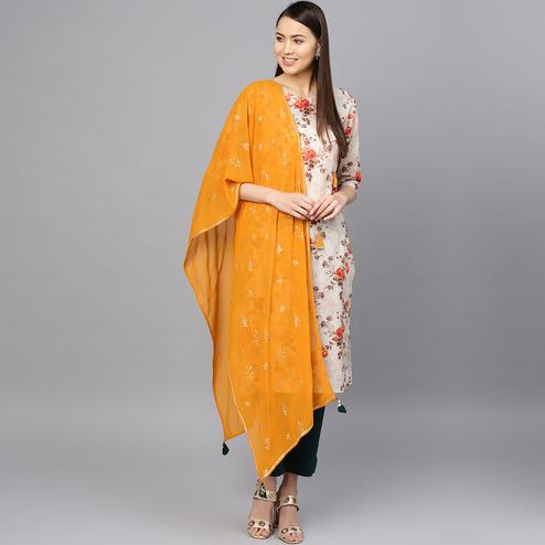 Charming Off White Colored Party Wear Floral Digital Printed Cotton Kurti-Pant Set With Dupatta