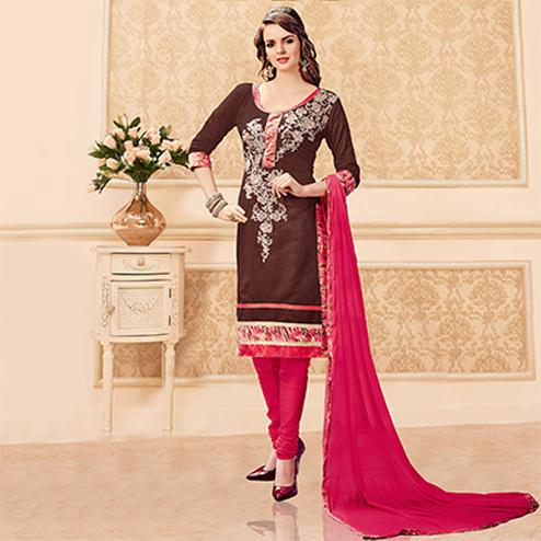 Brown - Pink Unstitched Churidar Suit