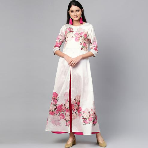 Innovative White Colored Party WearFloral Digital Printed Silk Kurti-Palazzo Set