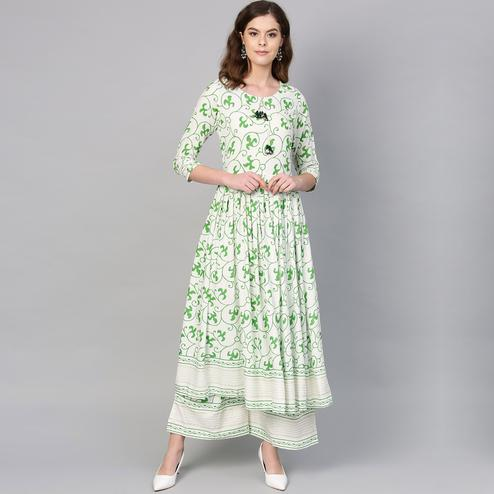 Fantastic White Colored Casual Digital Printed Rayon Kurti-Palazzo Set