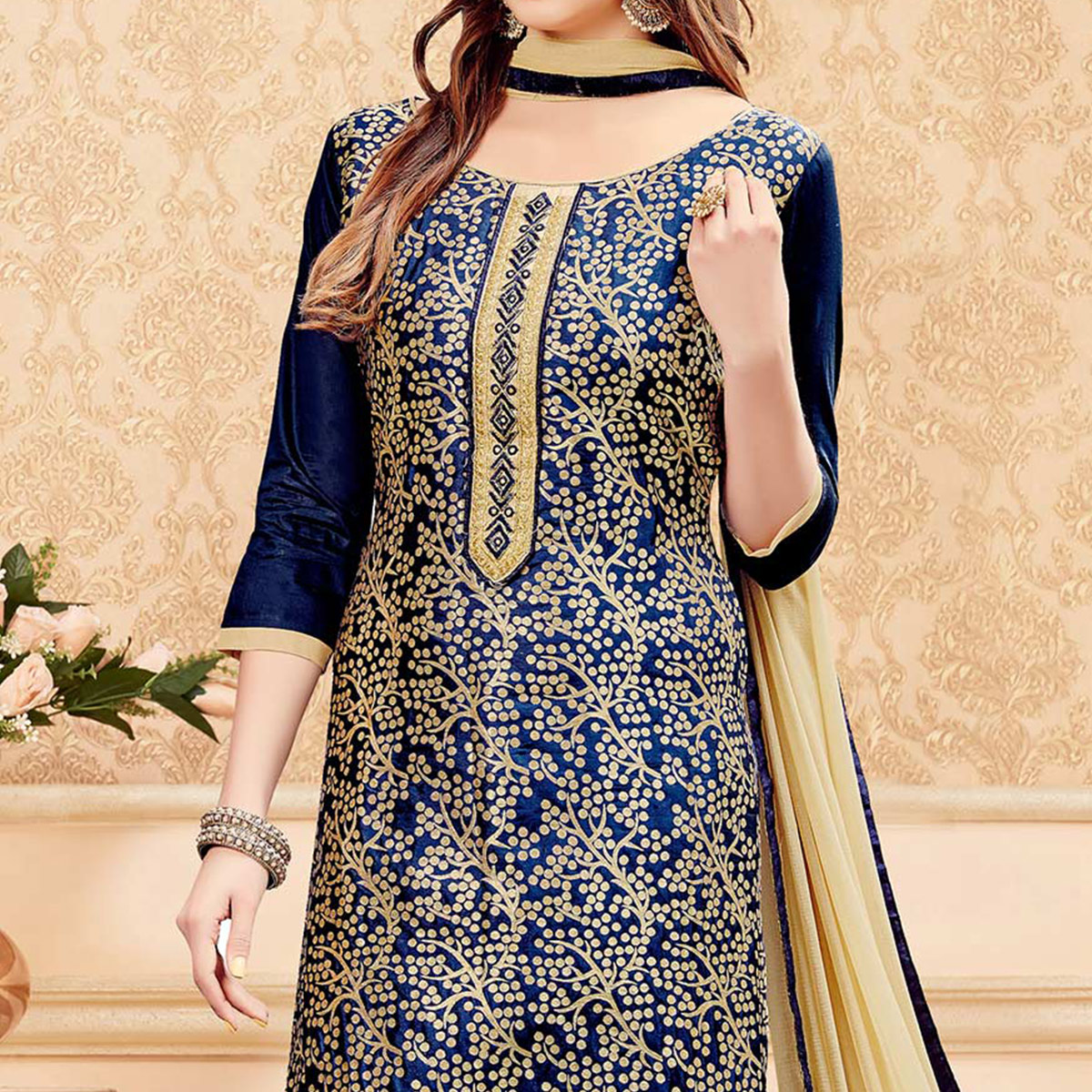 Dark Blue Cotton Churidar Suit