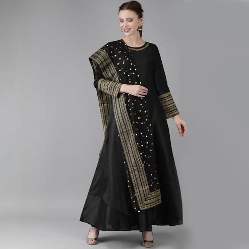 Lovely Black Colored Party Wear Embroidered Silk Kurti With Dupatta