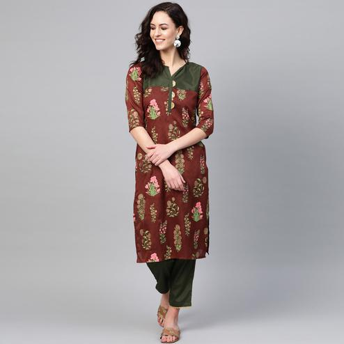 Ethnic Brown Colored Party WearFloral Printed Silk Kurti-Pant Set
