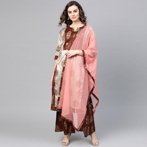 Ravishing Grey-Brown Colored Party WearFloral Printed Silk Kurti-Palazzo Set With Dupatta
