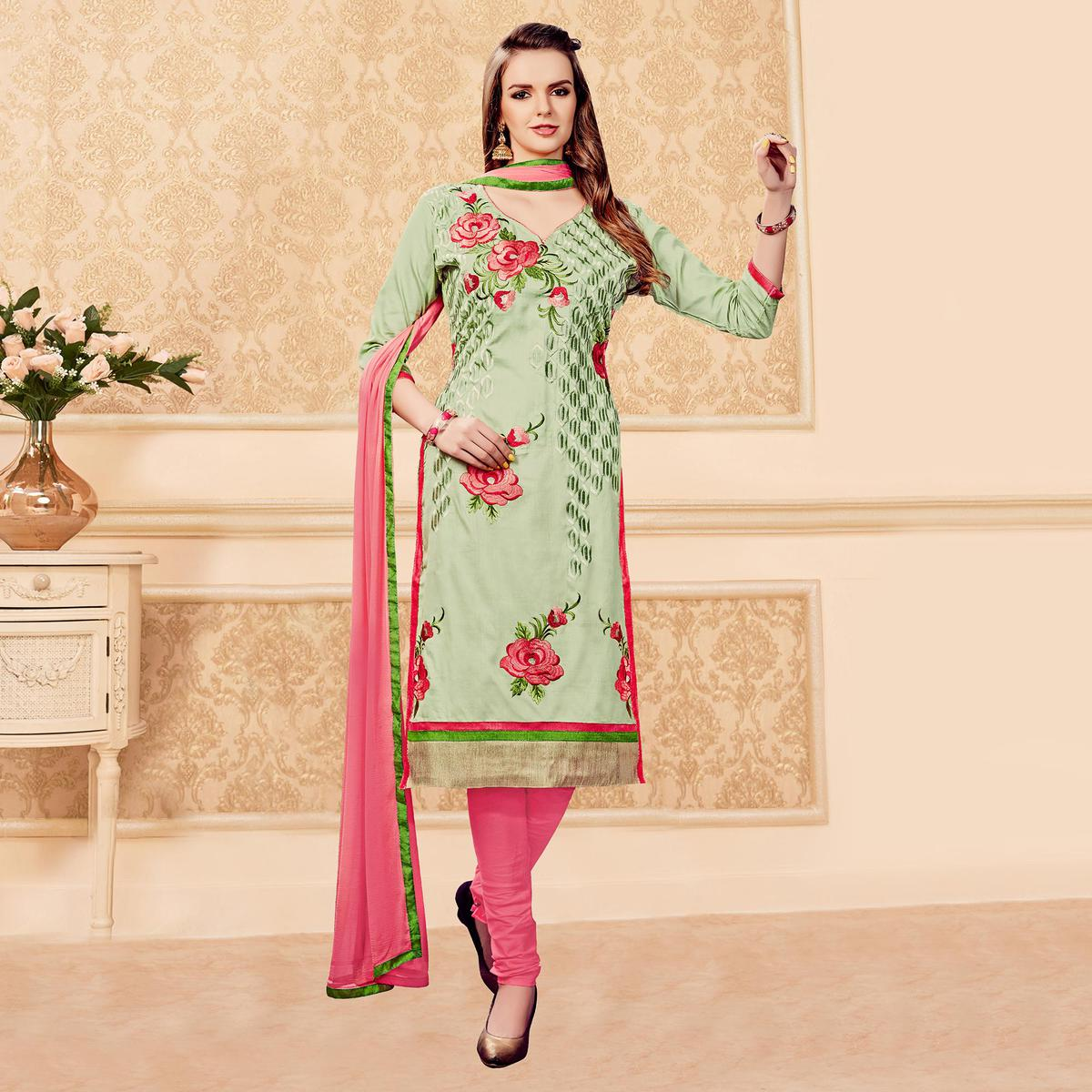 Green - Peach Embroidered Dress Material