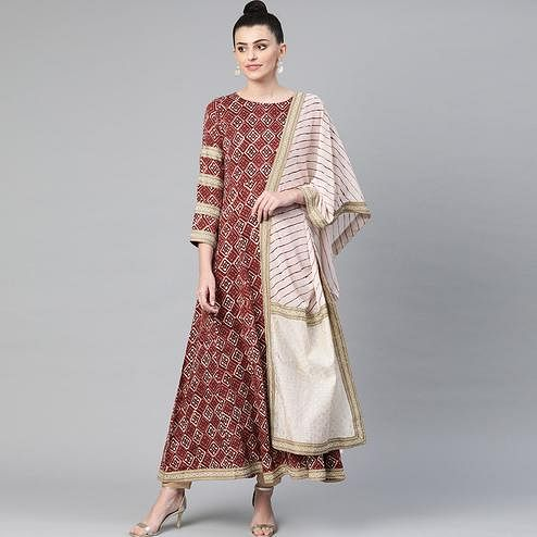 Dazzling Brown Colored Party Wear Printed Chanderi Silk Kurti With Dupatta