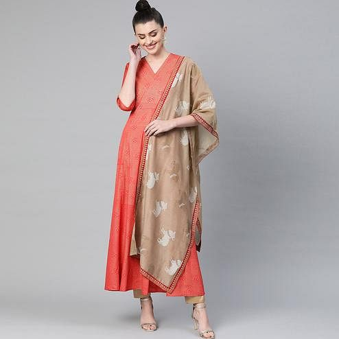 Arresting Red Colored Party WearPrinted Crepe Kurti With Dupatta