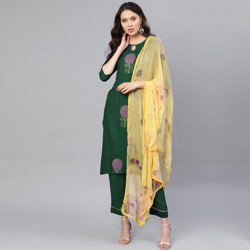 Desirable Green Colored Party WearPrinted Kurti-Palazzo Set With Dupatta