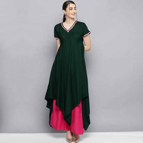 Radiant Green Colored Party Wear Solid Rayon Kurti-Palazzo Set