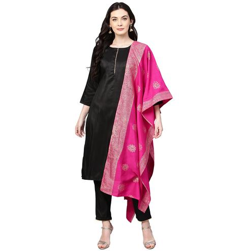 Opulent Black Colored Party Wear Solid Silk Kurti-Pant Set With Dupatta