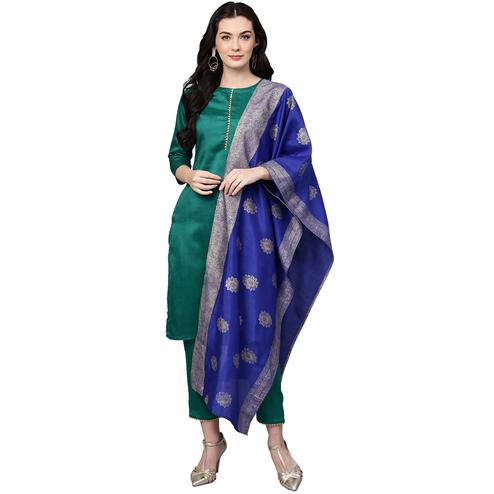 Energetic Teal Green Colored Party Wear Solid Silk Kurti-Pant Set With Dupatta