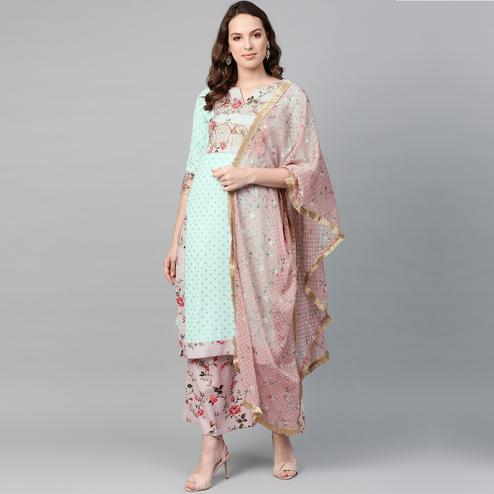 Gleaming Mint Green Colored Party Wear Printed Crepe Kurti-Palazzo Set With Dupatta