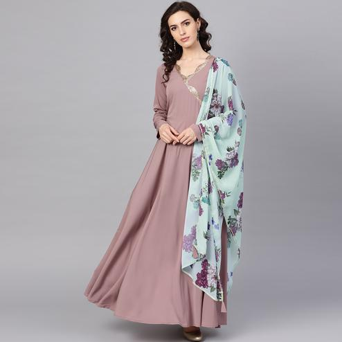 Hypnotic Pastel Mauve Colored Party Wear Solid Polyester Kurti With Dupatta