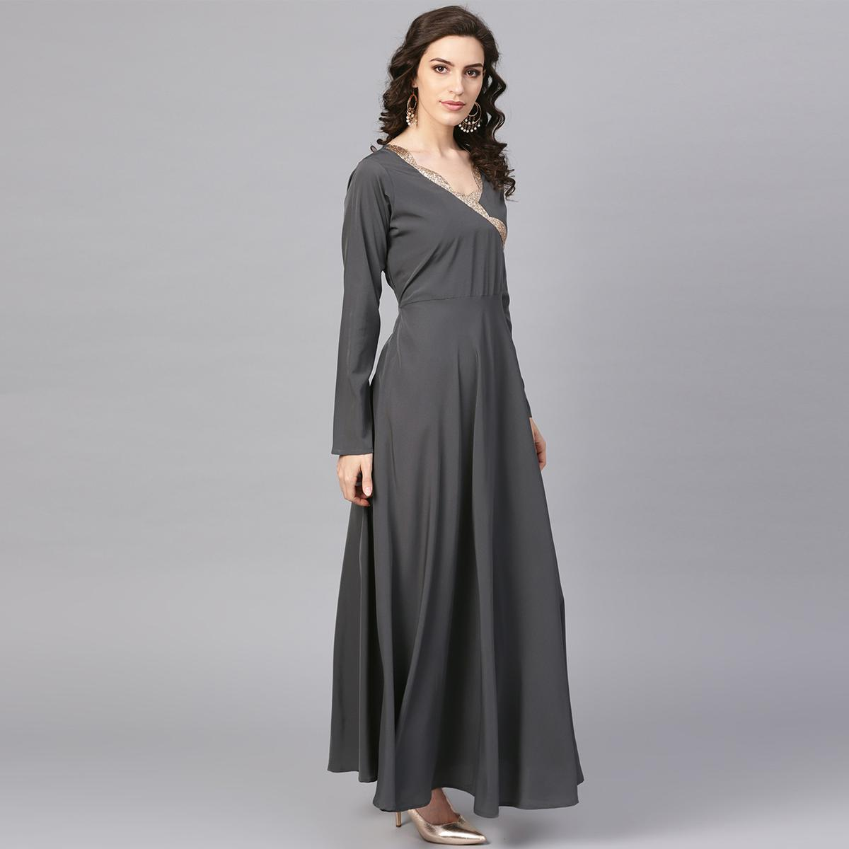 Flattering Grey Colored Party Wear Solid Polyester Kurti With Dupatta