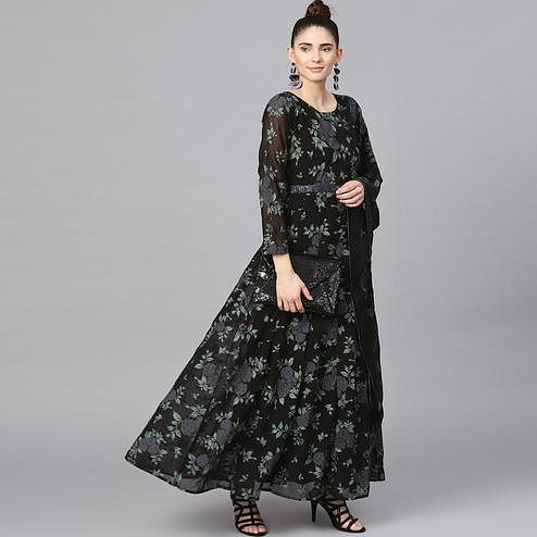 Excellent Black Colored Party Wear Printed Polyester Kurti With Dupatta