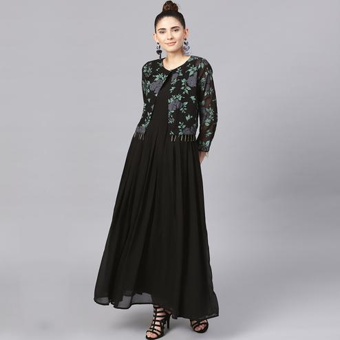 Flamboyant Black Colored Party Wear Solid Georgette Kurti With Jacket