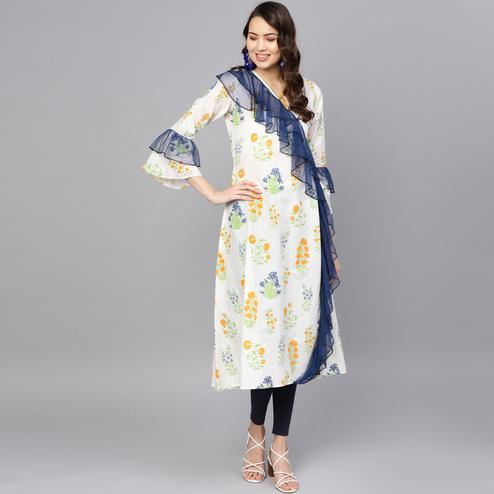 Intricate Off White Colored Casual Wear Printed Cotton Kurti