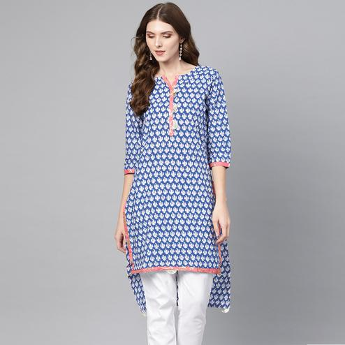 Desirable Blue Colored Casual Wear Printed Cotton Kurti