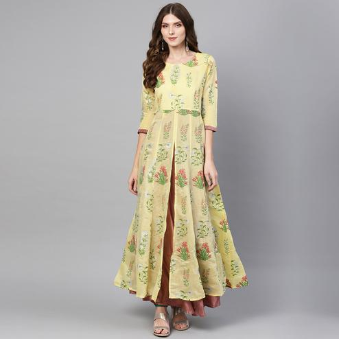 Exotic Light Yellow Colored Casual Wear Printed Chanderi Silk Kurti