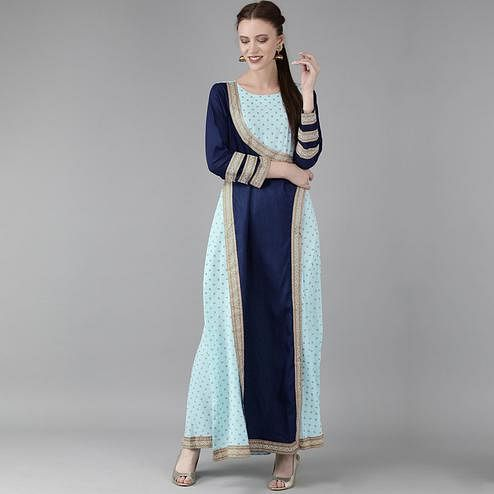 Elegant Light Blue Colored Casual Wear Printed Crepe Logn Kurti