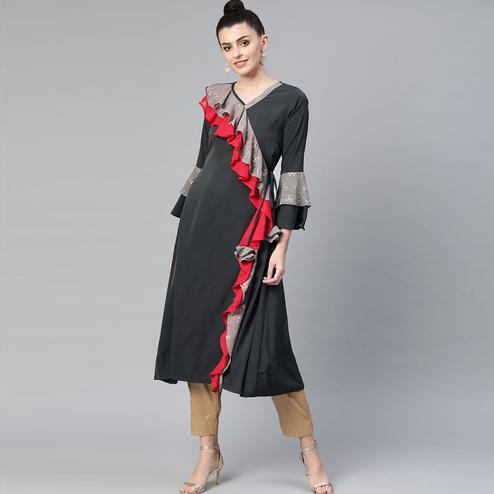 Pleasant Dark Grey Colored Casual Wear Printed Crepe Kurti