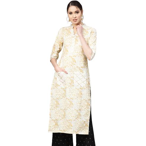 Energetic White Colored Casual Wear Printed Cotton Kurti